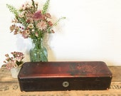 Antique Victorian Lacquered Wooden Handpainted Glove Box Jewelry Casket Pencil Boxes Jewellery Storage Display or Prop