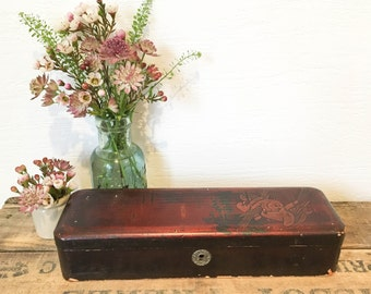 Antique Victorian Lacquered Wooden Handpainted Glove Box, Jewelry Casket, Pencil Boxes, Jewellery Storage, Display or Prop,