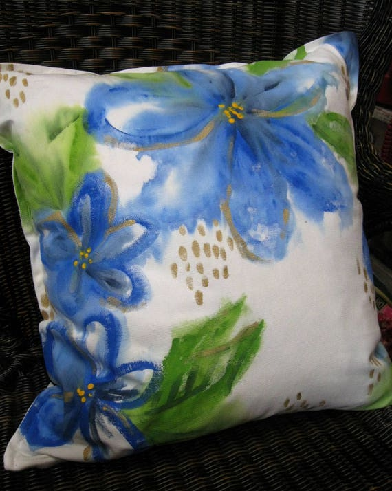 Hand Painted Pillow Cover - Watercolor Blue flowers