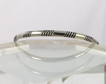 Geometric Striped Bangle Stacking Bracelet Sterling Size Medium / Everyday Jewelry / 925 Silver Bangles