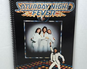 Saturday Night Fever Album Cover Notebook Handmade Spiral Journal - Bee Gees, John Travolta