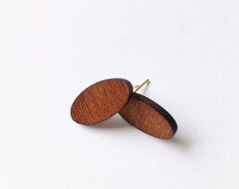 Long Oval Wooden Earrings - Wooden earrings - Fashion earrings - Oval earrings - Post earrings - Stud earrings - Minimalist earrings