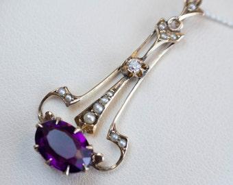 Victorian Lavaliere Pendant Amethyst, Diamond & Seed Pearl