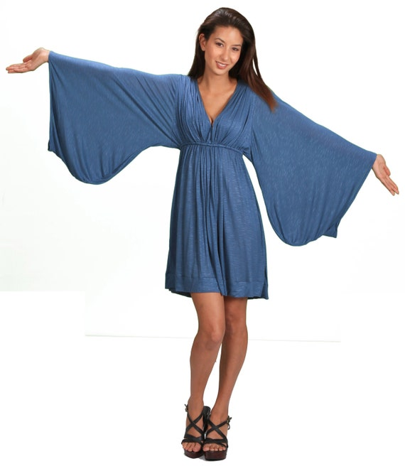 Bell Sleeve Goddess Dress in Periwinkle Summer Fashion Festival Wear Gift for Her Party Dress