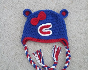 Chicago Cubs Girl's Winter Hat! Bow crochet handmade Cubs hat!