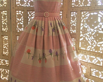 50s/60s style Red Ruby Originals full skirt pink & white candy stripe and Rosebud print sundress is newly made from Vintage cotton fabric..