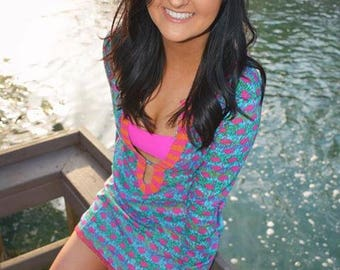Beaded Flamingo Cover Up With Monogram Option Beach Cover Up