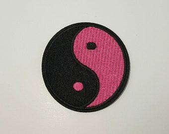 Pink Yin Yang retro iron on patch applique