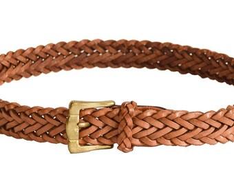 Vintage Belt, L.L. Bean Tan Braided Leather Belt, 1980s Belt, Women's Belt, Braided Belt, Women's Accessories, Gifts, Tan Belt, Brown Belt