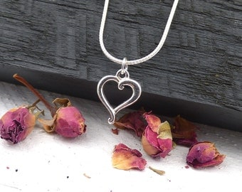 Simple Heart Necklace, Sterling Silver Sweetheart, Love Jewelry, Heart Pendant, Everyday Necklace