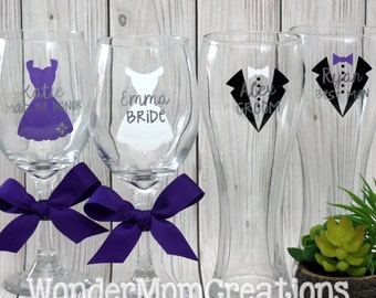 Wedding Party Wine Glasses; Wedding Party Beer Glasses; Bridal Party Wine Glass; Groomsmem Beer Glass; Bride and Groom Wine and Beer