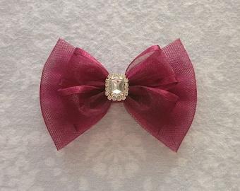 Wine Red Maroon Satin Organza Shimmer Tulle Bow, Pearl Rhinestone Gold Silver, Flower Girl, Wedding Hair Accessory, Fancy, Barrette, Aggie