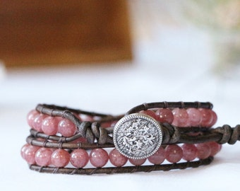 Healing Stone Wrap Bracelet - Strawberry Quartz