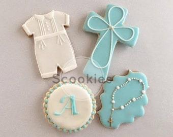 Boy Baptism cookies/Christening decorated cookies/ Baptism Cookies for boy /Holy Communion Cookies/First Communion Favor / 1 Dozen