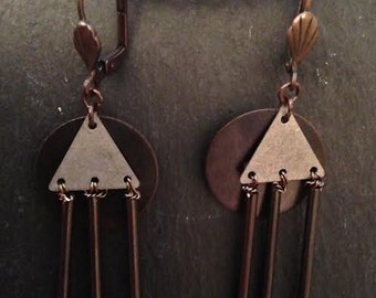 Mixed Metal Earrings, Wired, Pyrite Beads, Lever Back