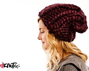 Mulberry LUXE LONDON hat...Vegan knit hat, hand knit, chunky knit, knit toque, knit beanie, knit hat, vegan knit, vegan gift.