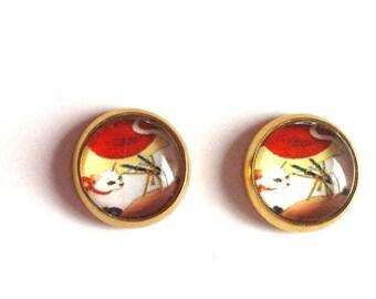 White Cat Stud Earrings
