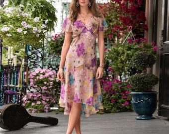 Sundance Monterey dress chiffon silk flower flowers purple pink lavender lilac violet yellow blue