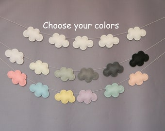Custom Felt Cloud garland Cloud Nursery decor Wall Decor Cloud Bunting baby shower gift Baby boy nursery Baby girl nursery