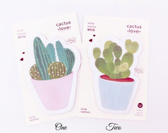 Cactus Sticky Notes // Succulent Stationery • Post It Note Pad • Bullet Journal • Kawaii Stationery • Planner Decoration • Organisation
