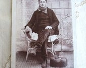 European Immigrant Vintage Cabinet Card Photograph - Gentleman with Scarf