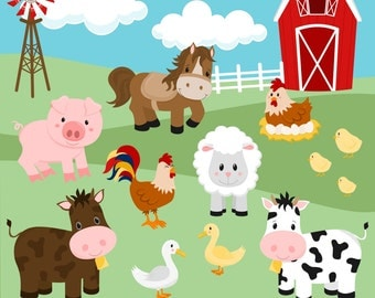 80% OFF SALE Farm Clipart, Barnyard Clipart, Cow Clipart, Horse Clipart, Pig Clipart, Chicken Clipart, Sheep Clipart, Commercial Use