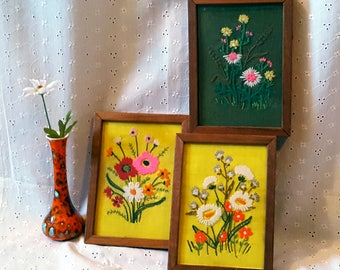 Vintage Set of Three Floral Crewel Embroideries, Framed Wall Art, Yellow, Green