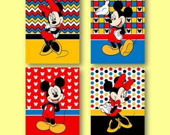 "Mickey Mouse and Minnie Mouse 8""x10"" Wall Art Prints Bright Colors - Set of 4"
