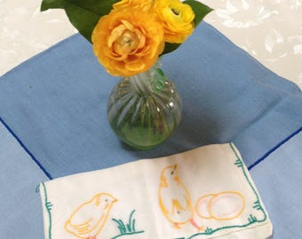 Easter Chicks & Eggs Vintage Embroidered Napkin Holder or Pouch