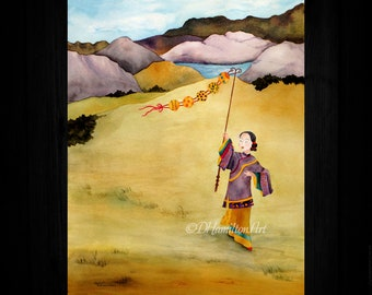 Chinese Lady and Kite, Kite Flying Day, Asian Art