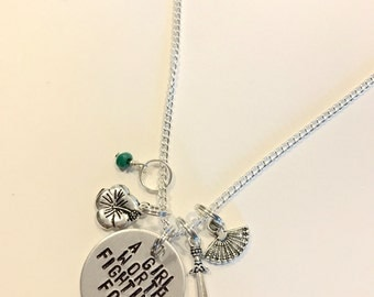 "Mulan Inspired Hand-Stamped Necklace - ""A Girl Worth Fighting For"""