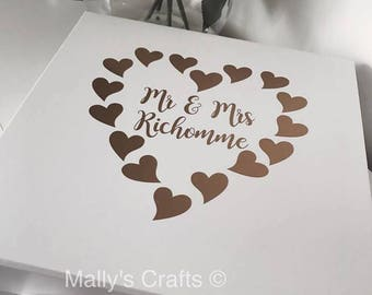 Personalised Wedding Gift Box Heart Wreath With Ribbon