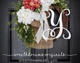 Rose Pink & White Hydrangea Wreath. Burlap Wreath. Year Round Wreath. Spring Wreath. Summer Wreath. Monogram Wreath Door Wreath.