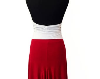 Red Argentine Tango Skirt with Back Ruffles | Milonga Skirt| Argentine Tango Clothes | Argentine Tango Skirt