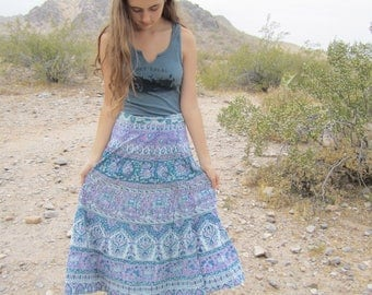 Vintage India Cotton Gauze Block Print Bohemian Goddess Wrap Skirt.......