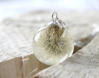 Fluffy Dandelion Resin Necklace, Real Dandelion, Dandelion Ball Necklace, Whole Dandelion Necklace