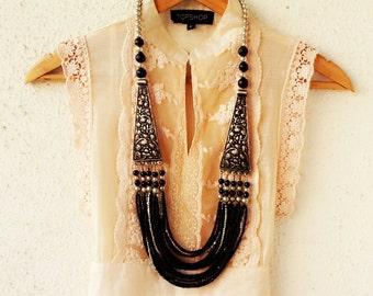 Black Necklace/Statement Necklace/Bohemian Necklace/Wedding Necklace/Bridesmaid Necklace/Beaded Necklace/Chunky Necklace/Filigree Necklace