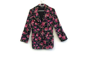 Vintage womens jacket / Womens cotton jacket / Womens floral jacket / Womens Boho flower jacket / New romantic long sleeve designer jacket