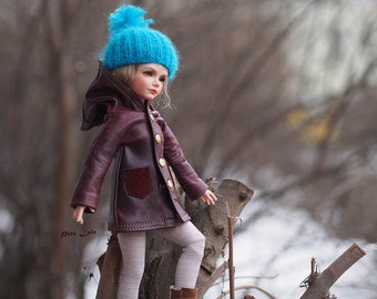 YoSD outfit for BJD dolls, garnet color jacket, leather coat, cape, clothes outer for dolls KID iplehouse clothes, unlined wine cloak Hooded