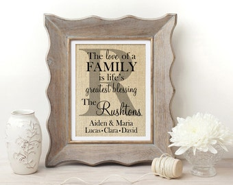 The Love of a Family is Life's Greatest Blessing | Family Name Sign | New Home Housewarming Gift | Our First Home | Housewarming Gift