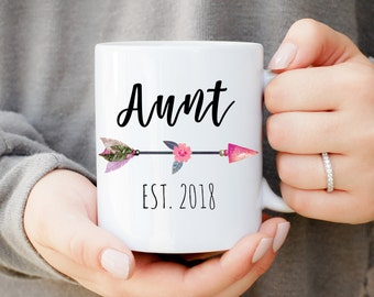 Aunt Mug with Custom Year, Only The Best Sisters Get Promoted To Aunt Mug,Best Sisters Gift, Baby Announcement, New Aunt Gift
