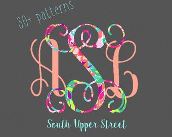 Vine Monogram Decal | Lilly Pulitzer Monogram Sticker | Monogram Sticker | Monogram Decal