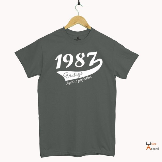 Turning 30 gift for boyfriend Blue Round Crew Neck T Shirt 1987 Vintage, Other colors available, Print Sizes S-2XL