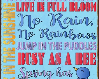 Spring Rules Metal Sign, Easter, Seasonal Décor  HB7266