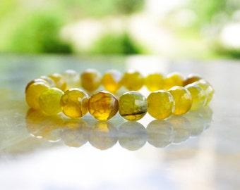 Agate Bracelet,Beaded Bracelet,Dragon Vein Bracelet,Yellow Bracelet,Gemstone Jewelry,Dragon Vein Jewelry,Yellow Agate Bracelet