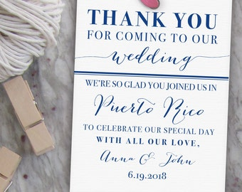 Wedding Thank You Tags // Printable Welcome Bag Tags, Wedding Favor Tags, Thank You Gift Tags, Destination Wedding Label  // Custom PDF