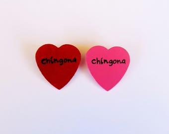 Chingona heart pin (chingona pin, chingona lapel, wood heart pin)