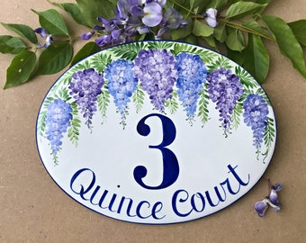 Wisteria custom house number plaque, number address sign, personalized number plaque, number name sign, personalized housewarming gift
