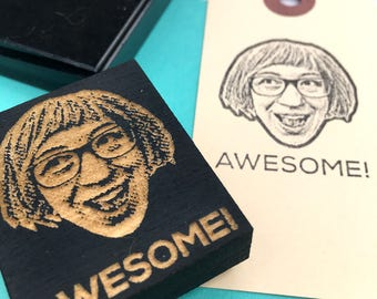Personalized face stamp- custom portrait rubber stamp- perfect gift for a teacher, a co-worker or a gift for the boss. Ships free in Canada