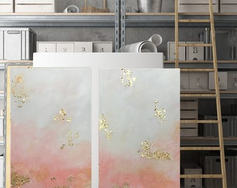 Gold Leaf Diptych- 12x24 Acrylic, Blush/White/Gold/Coral/Gold Leaf  set of 2 12x24 Paintings/Customizable/Custom Painting/Gold Foil/Abstract